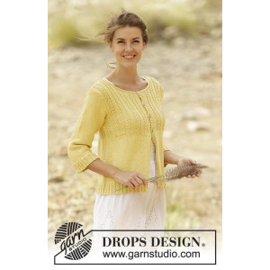 Golden Blossom by DROPS Design - Cardigan Stick-opskrift strl. S - XXXL
