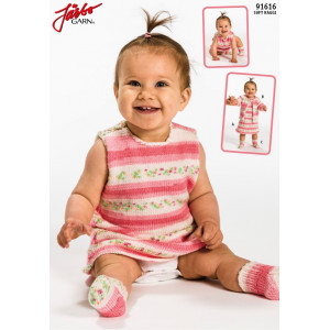 Järbo Babyklänning och Tröja med matchande Raggsockor - set Stick-opskrift strl. Prematur - 1/2 år