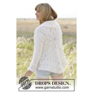 White Flower by DROPS Design - Cirkeljacka Stick-opskrift strl. S/M - XXL/XXXL