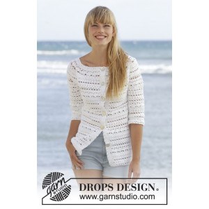 Seashore Bliss Cardigan by DROPS Design - Jacka Virk-opskrift strl. S - XXXL