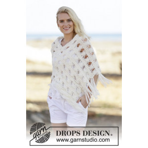 Late in August by DROPS Design - Poncho Stick-mönster strl. S/M - XXL/XXXL