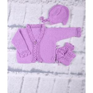 Mayflower Babyset - Tröja, Mössa og Skor Stick-mönster strl. 3 mdr - 18 mdr