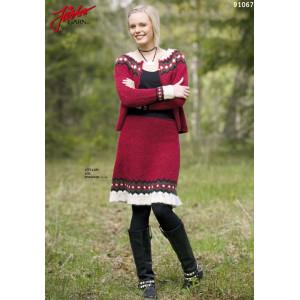 Ístex Kjole med Volang - Tvådelad Klänning Stick-opskrift strl. 34 - 44