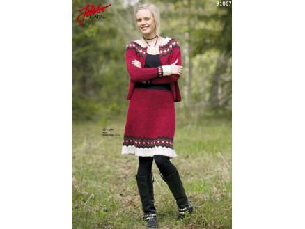50147f129b7a Ístex Kjole med Volang - Tvådelad Klänning Stick-opskrift strl. 34 - 44