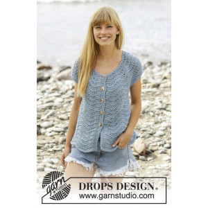 Shore Line Cardigan by DROPS Design - Cardigan Stick-opskrift str. S - XXXL