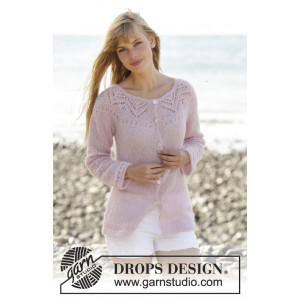 Pink Connection Cardigan by DROPS Design - Jacka Stick-opskrift strl. S - XXXL