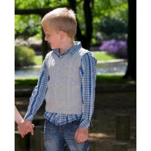 Mayflower Barnväst med strluktur - väst Stick-opskrift strl. 4 år - 12 år