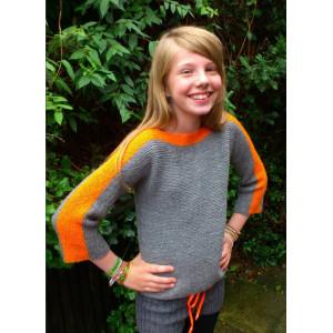 Mayflower Barntröja med ¾ ärmar - Tröja Stick-opskrift strl. 8 år - 14 år