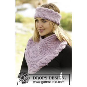 Braided Warmth by DROPS Design - Pannband og Halsvärmare Stick-opskrift S/M - M/L