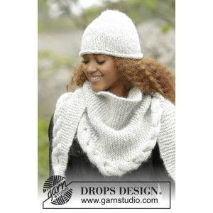 Winter Cozy by DROPS Design - Mössa og Sjal Stick-opskrift strl. S/M - L/XL og 165x45 cm