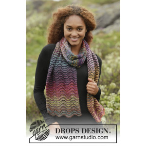 Rainbow Ripples by DROPS Design - Halsduk Stick-opskrift 160x30 cm