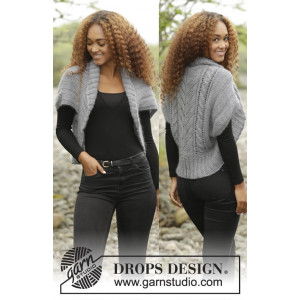 Grey Whisper by DROPS Design - Bolero Stick-opskrift strl. S/M - XXXL