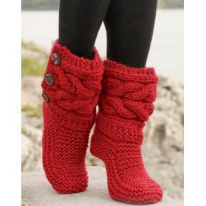 Little Red Riding Slippers by DROPS Design - Tofflor med Flätor Stick-opskrift strl. 35/37 - 40/42