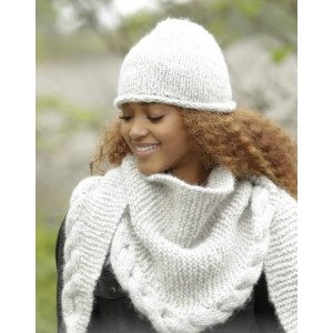 Winter Cozy by DROPS Design - Mössa og Sjal Stick-opskrift strl. S/M - L/XL og 165x45 cm