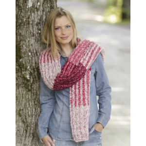 Raspberry Hug by DROPS Design - Halsduk stickmönster 173x32 cm