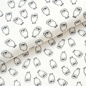 Køb Bomullsjersey Print Tyg 150cm 002 Mjölk – 50cm