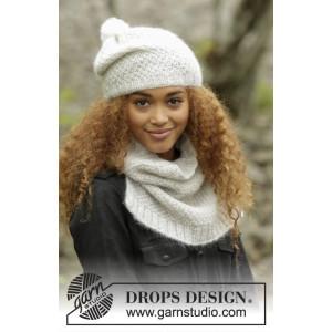 Cream Puff by DROPS Design - Mössa och halsduk stickmönster str. S/M - M/L