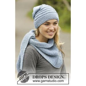 Blue Winds by DROPS Design - Mössa og Sjal Stick-opskrift strl. S/M - L/XL