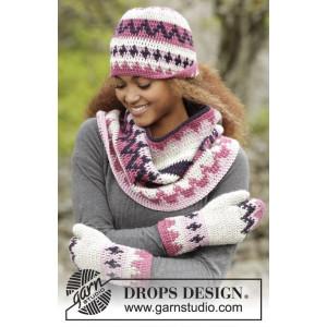 Pink Maze by DROPS Design - Mössa, Halsvärmare och vantar Virk-mönster strl. S-XL
