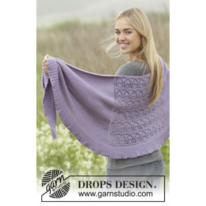 Lavender Leaves by DROPS Design - Sjal Stick-mönster 175x45 cm