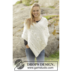 Snow Beads by DROPS Design - Poncho Stick-mönster strl. S/M - XXL/XXXL
