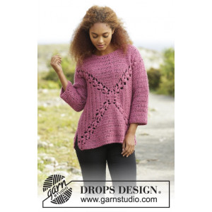 Autumn Rose by DROPS Design - Tröja Virk-opskrift strl. S - XXXL