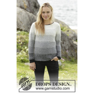 Shades of Grey by DROPS Design - Tröja Stick-opskrift strl. S - XXXL