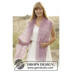 Spring Blush by DROPS Design - Sjal Stick-mönster 168x30 cm