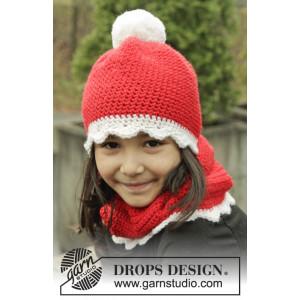 Santa's Favorite by DROPS Design - Mössa och Halsvärmare Virk-opskrift strl. 3/5 år - 10/12 år
