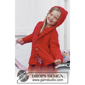 Little Red Riding Hood by DROPS Design - Barnjacka med huva Virk-opskrift strl. 3/4 år - 11/12 år