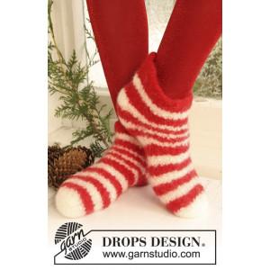 Christmas Slippers by DROPS Design - Filtade Tofflor Stick-opskrift strl. 35/37 - 42/44