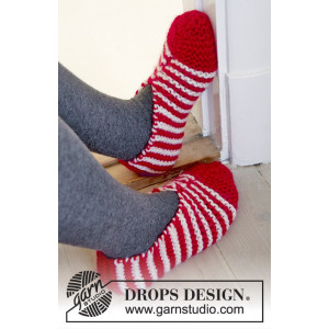 Candy Steps by DROPS Design - Tofflor Stick-opskrift strl. 29/31 - 44/46