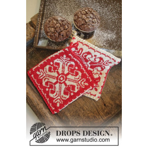 Baking Christmas by DROPS Design - Grytlappar Stick-opskrift 20x19 cm - 2 st.