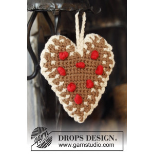 Gingerbread Heart by DROPS Design - Julhjärtan Virk-mönster 13x11 cm - 2 st