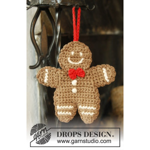 Gingy by DROPS Design - Pepparkaksgubbe Julpynt Virk-mönster 15x14 cm - 2 st