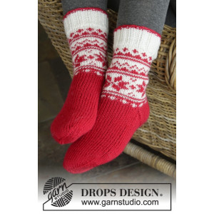 Merry & Warm by DROPS Design - Sockor Stick-opskrift str. 32/34 - 41/43
