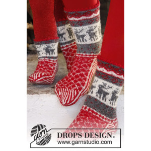 Christmas Stampede by DROPS Design - Sockor Stick-opskrift str. 26/28 - 41/43