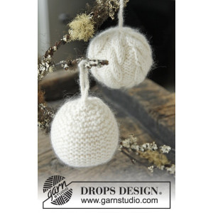 Let it Snow by DROPS Design - Julkulor Julpynt Stickbeskrivning 8 cm