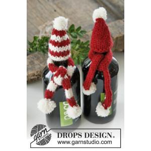 North Pole Pals by DROPS Design - Julpynt Mössa og Halsduk till flaska Stickbeskrivning