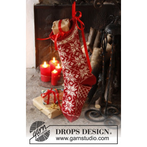 Mr. Kringle's Stocking by DROPS Design - Julstrumpa Stickbeskrivning ft 35x25 cm