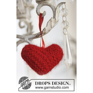 Sweet heart by DROPS Design - Julhjärta Julpynt Stickbeskrivning 5 cm