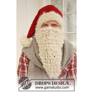 Mr. Kringle by DROPS Design - Tomteluva, Halsduk och Tomteskägg Stick-opskrift strl. S/M - M/L