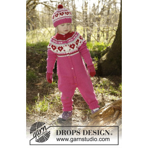 Warmhearted by DROPS Design - Heldräkt Stick-opskrift str. 12/18 mdr - 5/6 år
