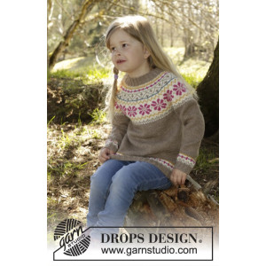 Prairie Fairy Jumper by DROPS Design - Tröja Stick-opskrift strl. 3/4 - 11/12 år