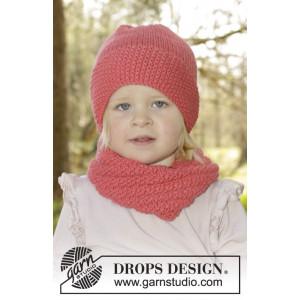 Papaya Punch by DROPS Design - Mössa og Halsvärmare Stick-opskrift strl. 12/18 mdr - 7/10 år