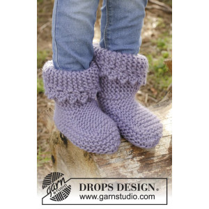 Plum Crumble by DROPS Design - Tofflor Stick-opskrift strl. 20/21 - 32/34