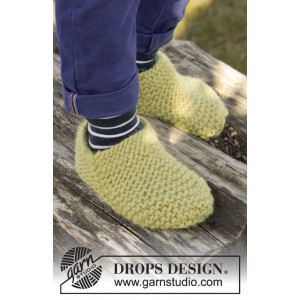 Lemon Jelly by DROPS Design - Tofflor Stick-opskrift strl. 20/21 - 35/37