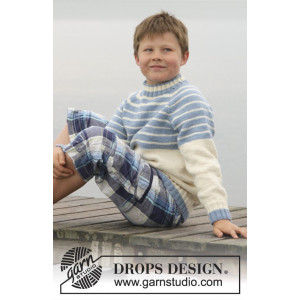 Water strlipes by DROPS Design - Tröja Stick-opskrift strl. 3/4 - 13/14 år