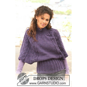 Warm Winter Wings by DROPS Design - Poncho Stick-mönstre strl S - XXXL