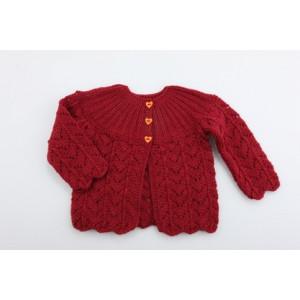Mayflower Cardigan med hjärtknappar - Jacka Stick-mönster strl. 6 mdr - 2/3 år